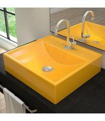 cuba para banheiro quadrada amarelo q39 - compace