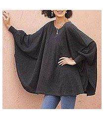 cotton blend sweater, 'charcoal breeze' (peru)