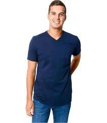 camiseta cuello v tela jersey para hombre color siete - azul