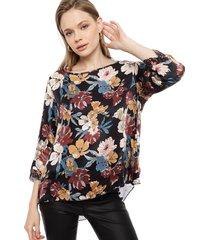 blusa lineatre flores multicolor - calce holgado