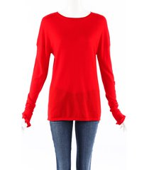 barrie cashmere knit embroidered sweater red sz: xs