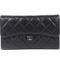 chanel black matelasse quilted lambskin cc long wallet black sz: