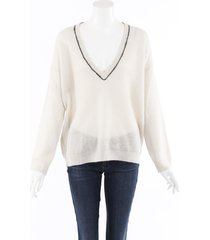 brunello cucinelli mohair knit v-neck sweater beige sz: l