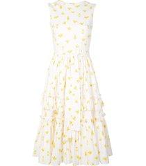 carolina herrera printed tiered ruffled dress - white