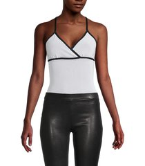 blanc noir women's plie bodysuit - white - size s