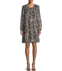 tommy hilfiger women's printed long-sleeves dress - black - size 2