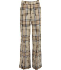 bum slit trousers checkered neutral