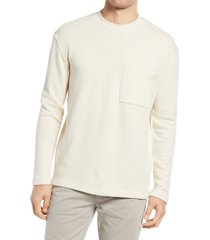 men's closed linen & cotton sweater, size large r - beige