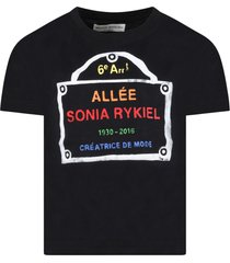 sonia rykiel black t-shirt for girl with logo