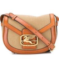 etro pegasus buckle crossbody bag - neutrals