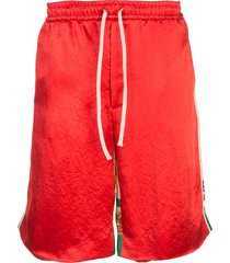 gucci loose fit track shorts - red