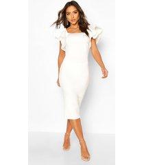 bonded scuba ruffle sleeve midi dress, white