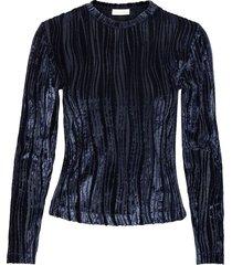 maya, 1008 velvet devoré blouse lange mouwen blauw stine goya