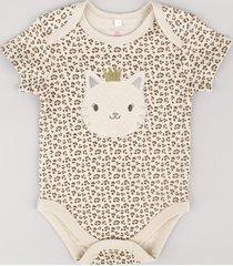 "body infantil ""leopardo"" estampado animal print manga curta bege"