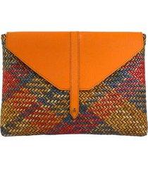 bolsa carteira palha colorida couro serpui marie feminina - feminino