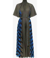 crepe pleated stripe dress