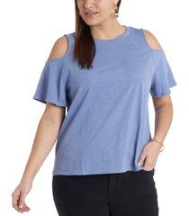 plus size short sleeve cold shoulder knit top