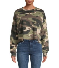 kendall + kylie women's camo cotton-blend cropped sweatshirt - green - size s
