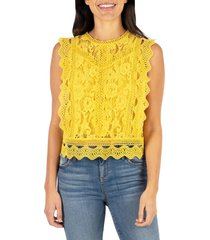 women's kut from the kloth stella sleeveless cotton blend lace top, size medium - yellow