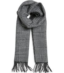 steve madden men's plaid to solid reversible fringe scarf