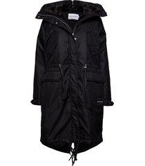 fur lining down park parka lange jas jas zwart calvin klein jeans