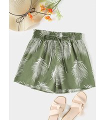 yoins shorts de cintura elástica fruncidos con estampado tropical