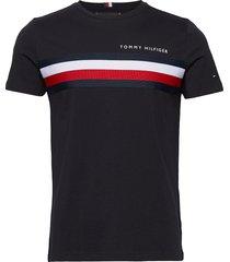 global stripe tee t-shirts short-sleeved svart tommy hilfiger