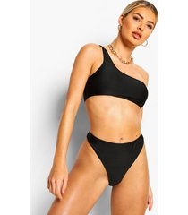 essentials bikini crop top met eén blote schouder, zwart