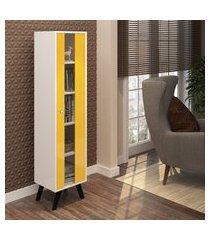 cristaleira com 1 porta estilo retrô amarela lilies móveis