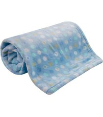 cobertor beb㪠microfibra flannel camesa azul poa - transparente - dafiti