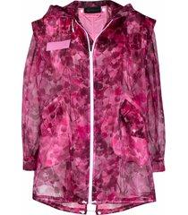 mr & mrs italy blossom camouflage-print parka - pink