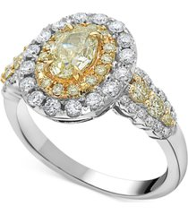 diamond fancy color halo engagement ring (1-1/2 ct. t.w.) in 14k gold & white gold