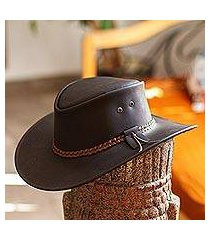 men's leather hat, 'outback ranger in espresso' (mexico)