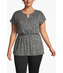 lane bryant women's textured notch-neck tunic 26/28 black