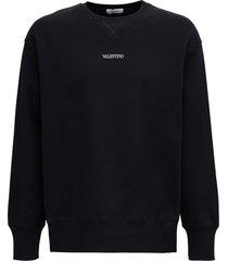 valentino black cotton sweatshirt with logo print