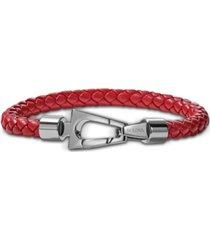 bulova men's red braided leather bracelet in stainless steel