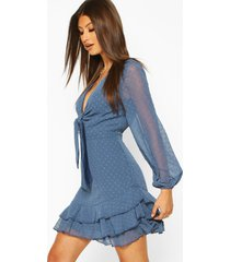 dobby chiffon tie detail skater dress, blue