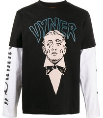 vyner articles graphic print paneled t-shirt - black