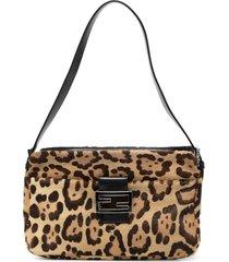 fendi pre-owned leopard print ff logo shoulder bag - brown