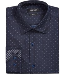 nine west men's slim-fit performance stretch dotted diamond-print dress shirt