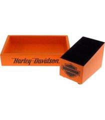 kit 2 peã§as organizadores mesa porta controle laranja decora - amarelo - dafiti