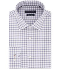 tommy hilfiger men's slim-fit non-iron thflex supima performance stretch check dress shirt