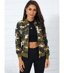 chaqueta de manga larga con cremallera frontal de camuflaje verde militar yoins