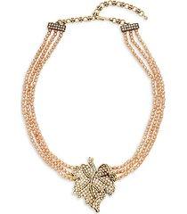 goldtone & crystal beaded multi-strand pendant necklace