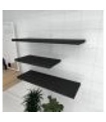 kit 3 prateleiras banheiro em mdf sup. inivisivel preto 1 60x30cm 2 90x30cm modelo pratbnp31