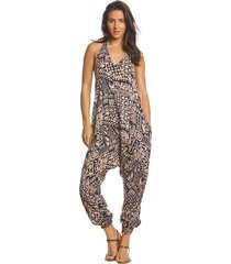 buddha pants women's aztec harem jumpsuit - beige xx-small cotton