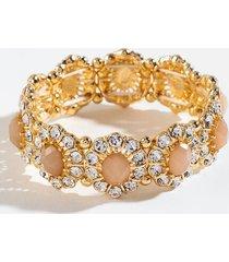 cadence crystal flower stretch bracelet - blush