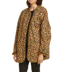 women's r13 faux fur lined leopard print military liner jacket