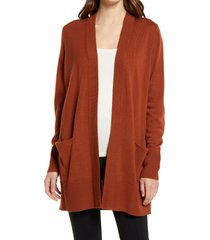 women's nordstrom everyday open front cardigan, size small - brown