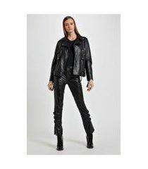 jaqueta de couro motor biker preto - 42